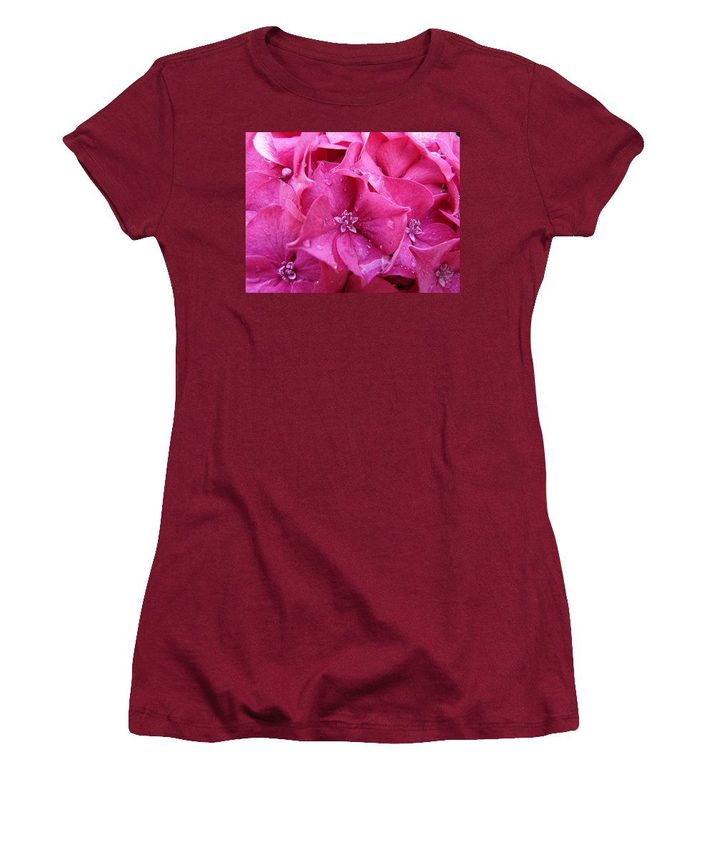 Flower Women's T-Shirt (Athletic Fit) featuring the photograph Pink Hydrangea After Rain by Valerie Ornstein