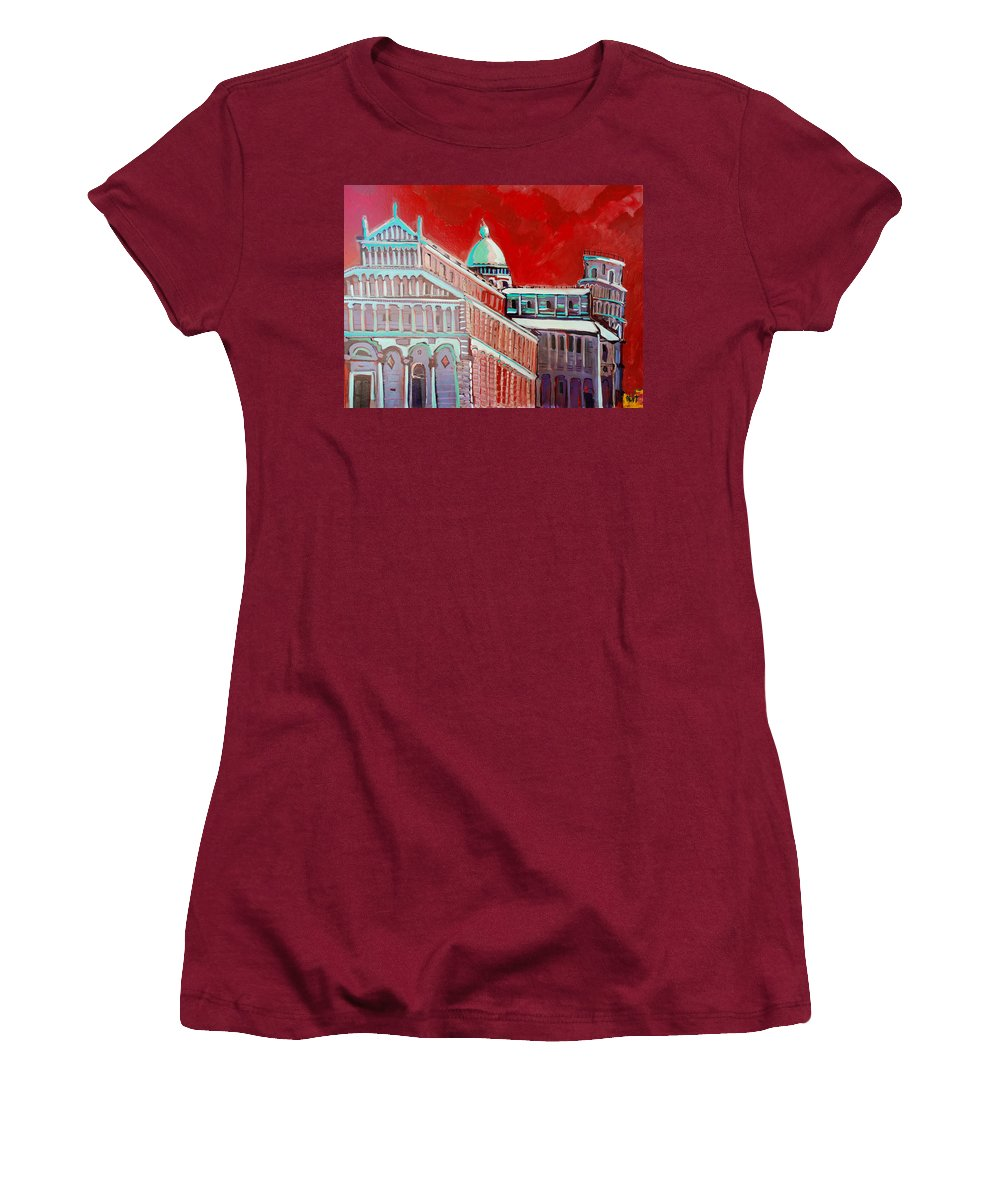 Pisa Women's T-Shirt (Athletic Fit) featuring the painting Pisa by Kurt Hausmann