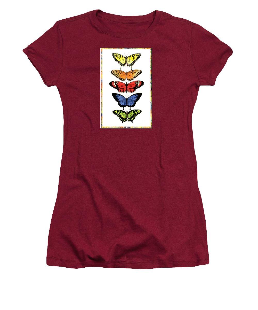 Butterflies Women's T-Shirt (Junior Cut) featuring the painting Rainbow Butterflies by Lucy Arnold