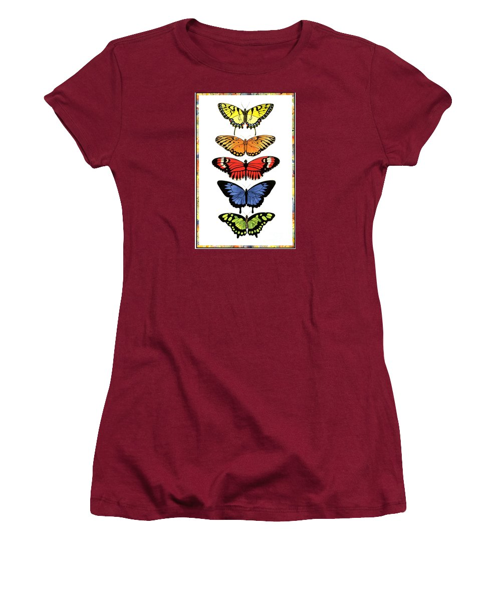 Butterflies Women's T-Shirt (Athletic Fit) featuring the painting Rainbow Butterflies by Lucy Arnold