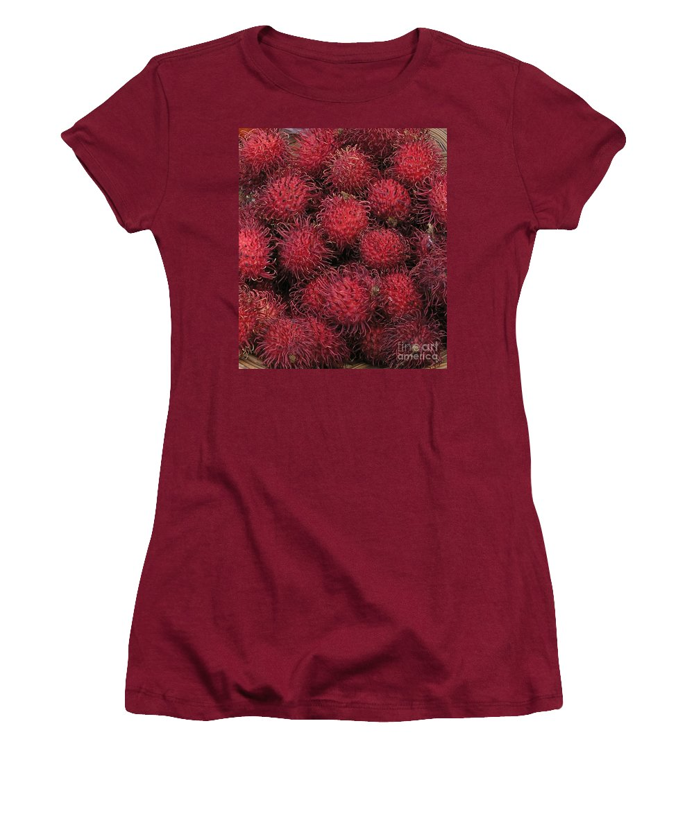 Rambutan Women's T-Shirt (Athletic Fit) featuring the photograph Rambutan by Mary Deal