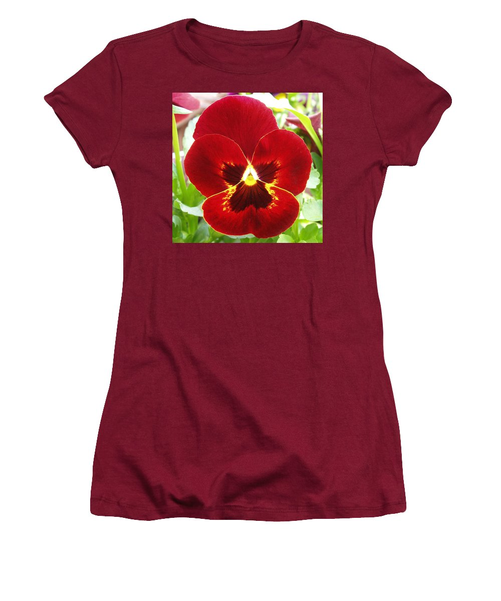Red Women's T-Shirt (Athletic Fit) featuring the photograph Red Pansy by Nancy Mueller