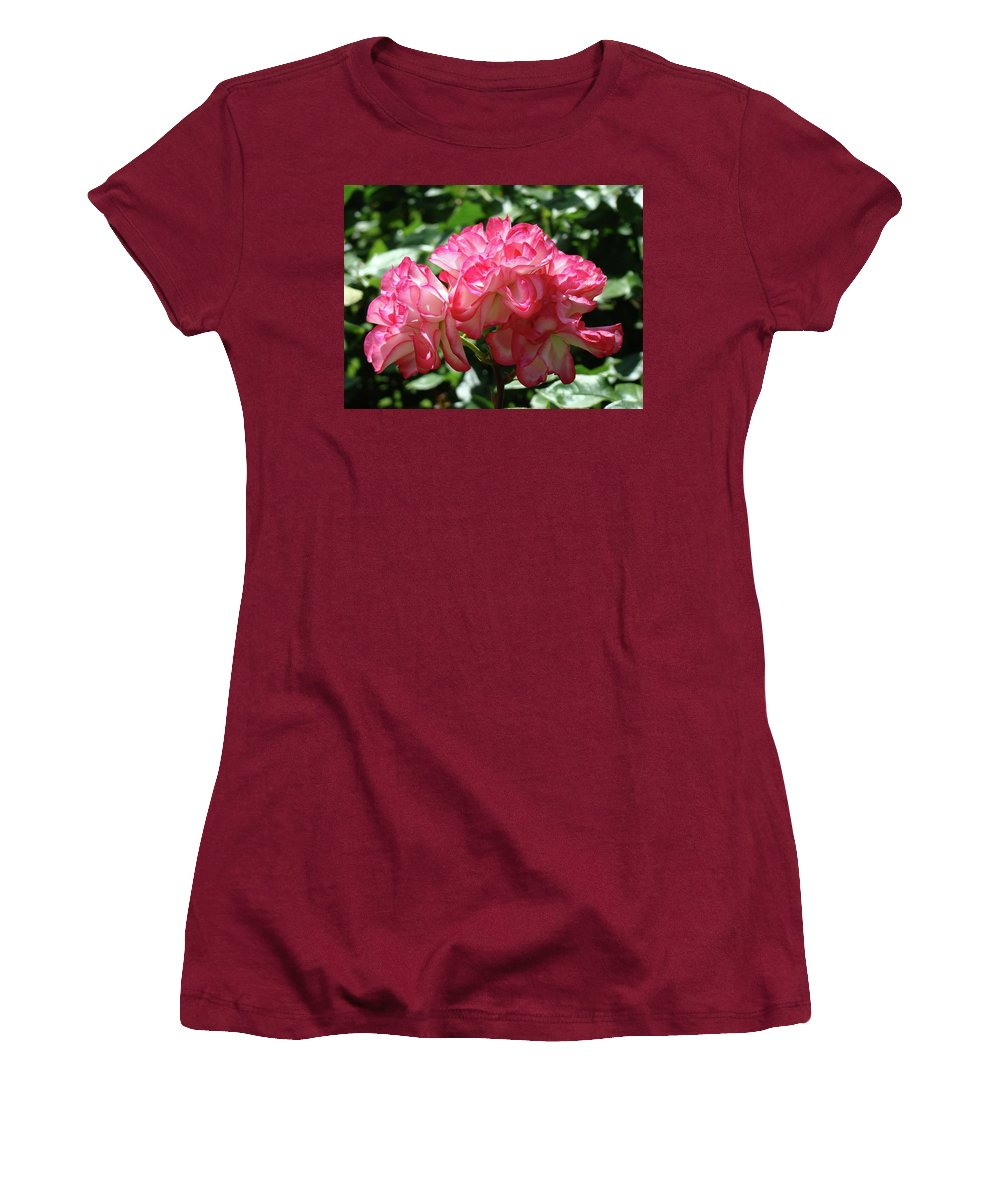 Rose Women's T-Shirt (Athletic Fit) featuring the photograph Roses Bouquet Pink White Rose Flowers 2 Rose Garden Baslee Troutman by Baslee Troutman