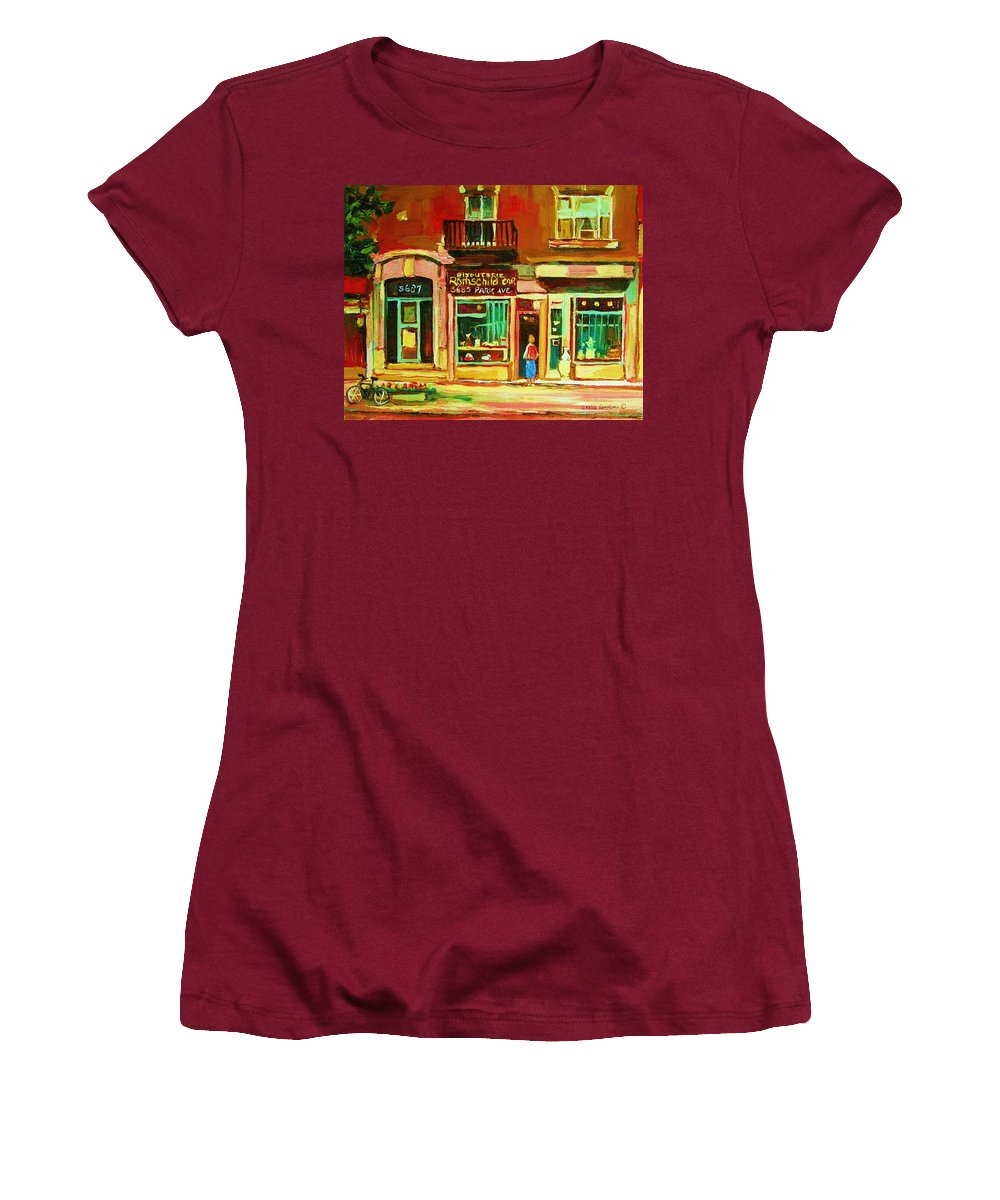 Montreal Women's T-Shirt (Athletic Fit) featuring the painting Rothchilds Jewellers On Park Avenue by Carole Spandau