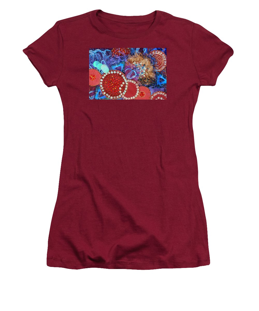 Women's T-Shirt (Athletic Fit) featuring the mixed media Ruby Slippers 3 by Judy Henninger