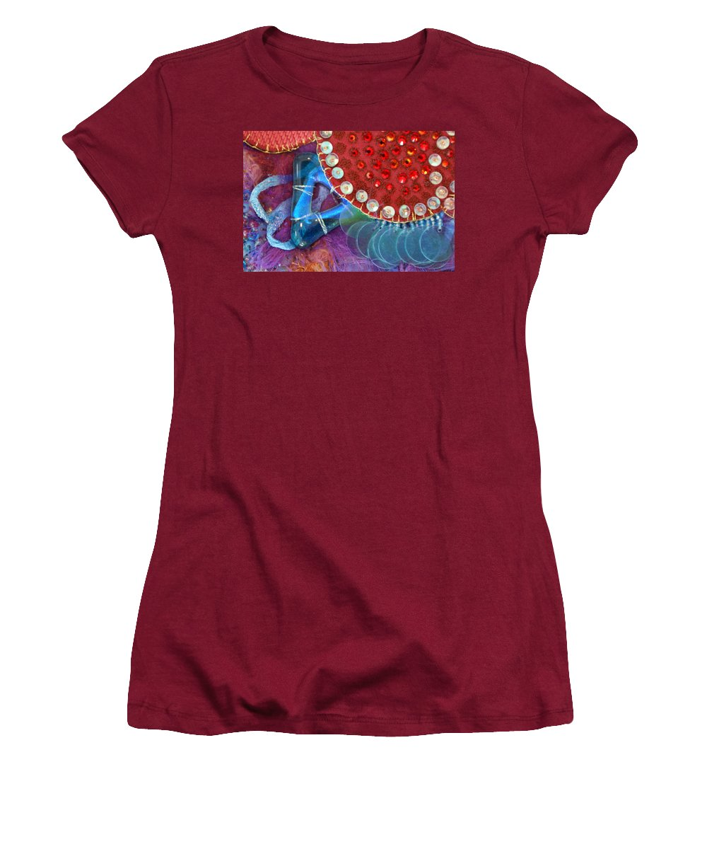 Women's T-Shirt (Athletic Fit) featuring the mixed media Ruby Slippers 4 by Judy Henninger