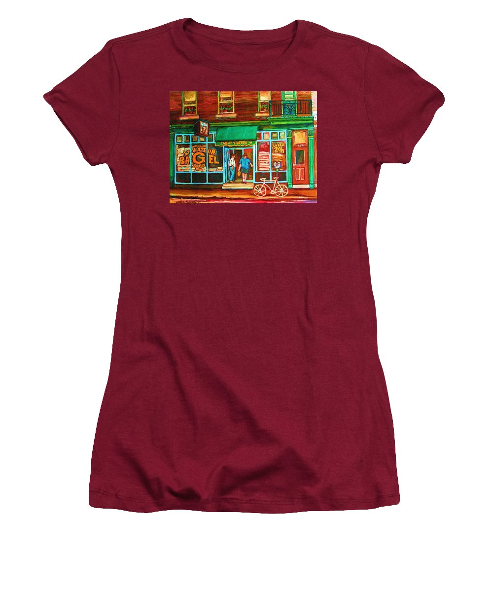 Saint Viateur Bagel Women's T-Shirt (Athletic Fit) featuring the painting Saint Viateur Bakery by Carole Spandau