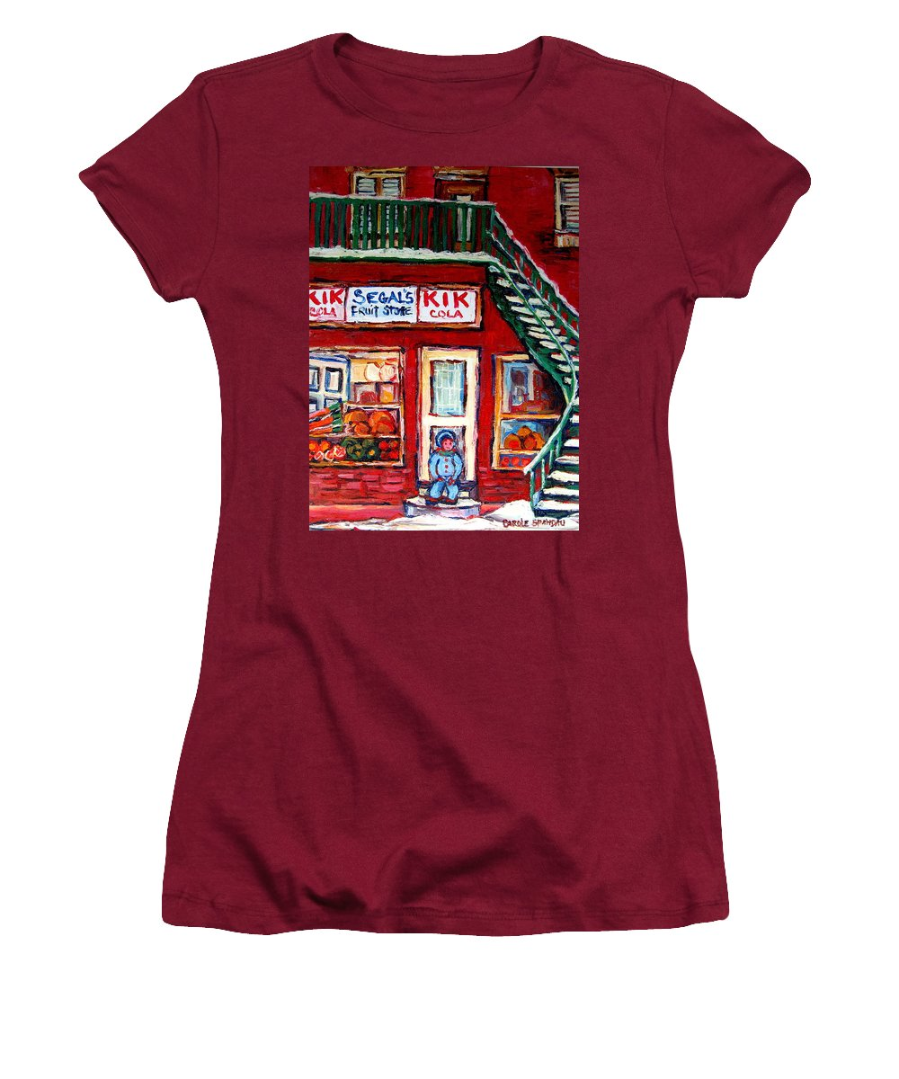 Segal Women's T-Shirt (Athletic Fit) featuring the painting Segal's Market St.lawrence Boulevard Montreal by Carole Spandau