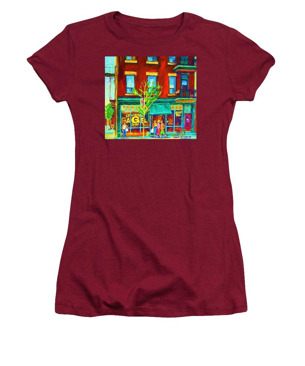 St. Viateur Bagel Shop Women's T-Shirt (Athletic Fit) featuring the painting St Viateur Bagel Shop by Carole Spandau
