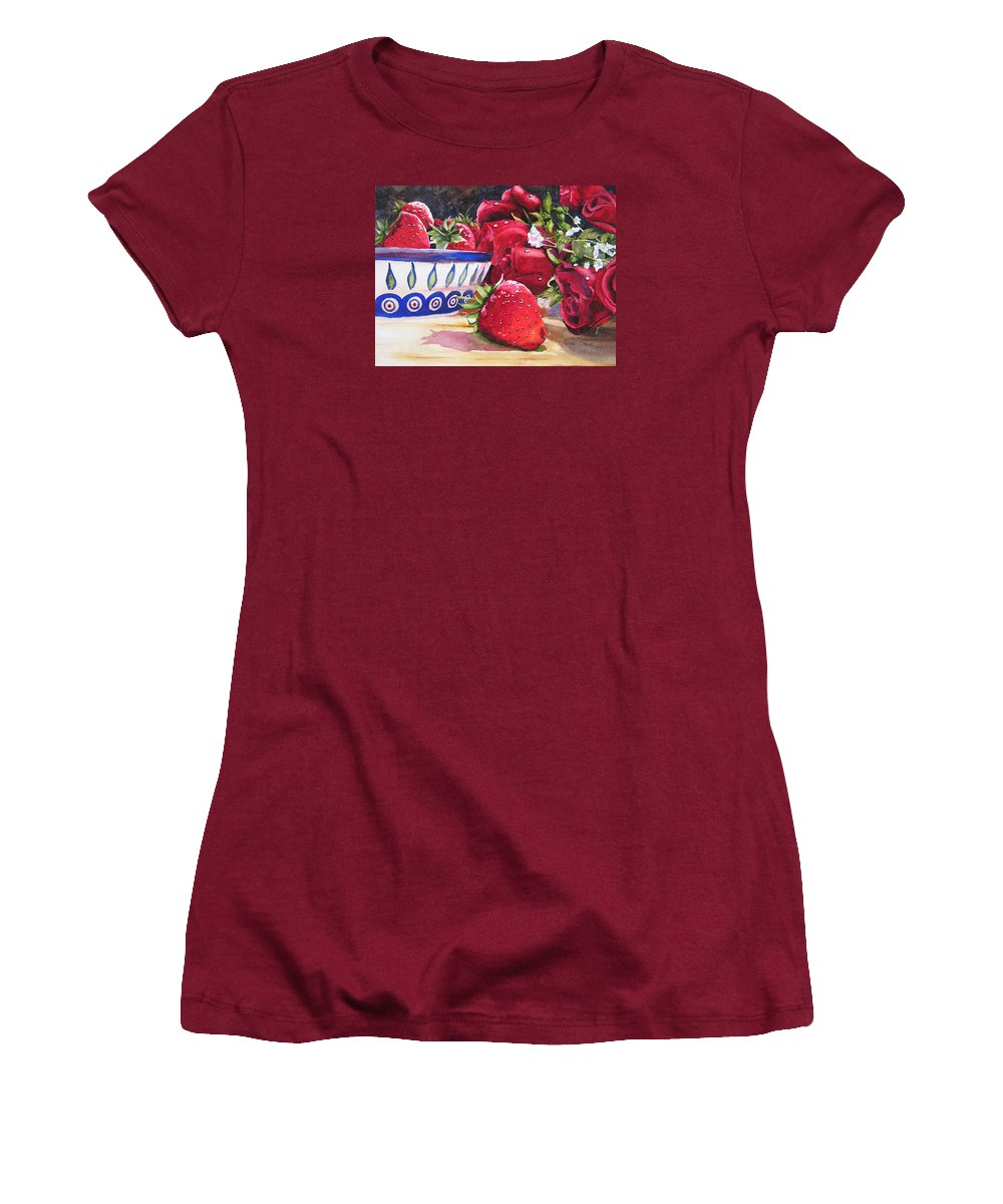 Strawberries Women's T-Shirt (Athletic Fit) featuring the painting Strawberries And Roses by Karen Stark
