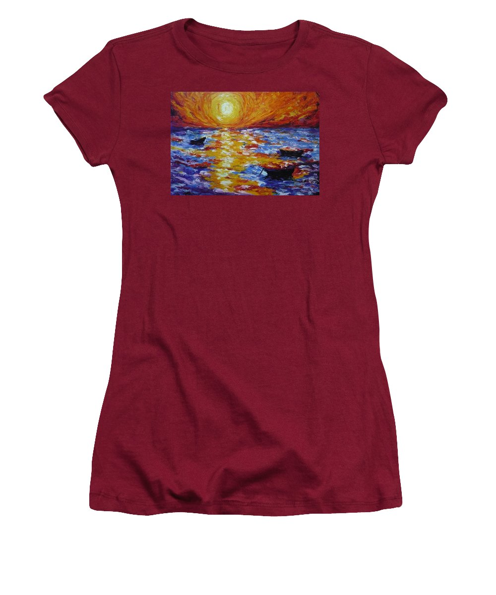 Landscape Women's T-Shirt (Athletic Fit) featuring the painting Sunset With Three Boats by Ericka Herazo