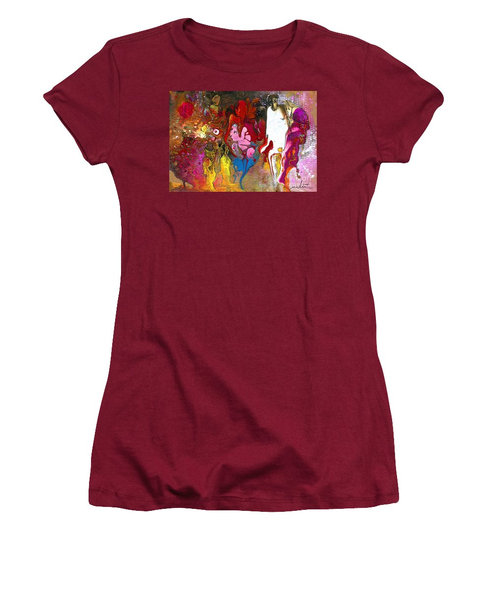 Miki Women's T-Shirt (Athletic Fit) featuring the painting The First Wedding by Miki De Goodaboom