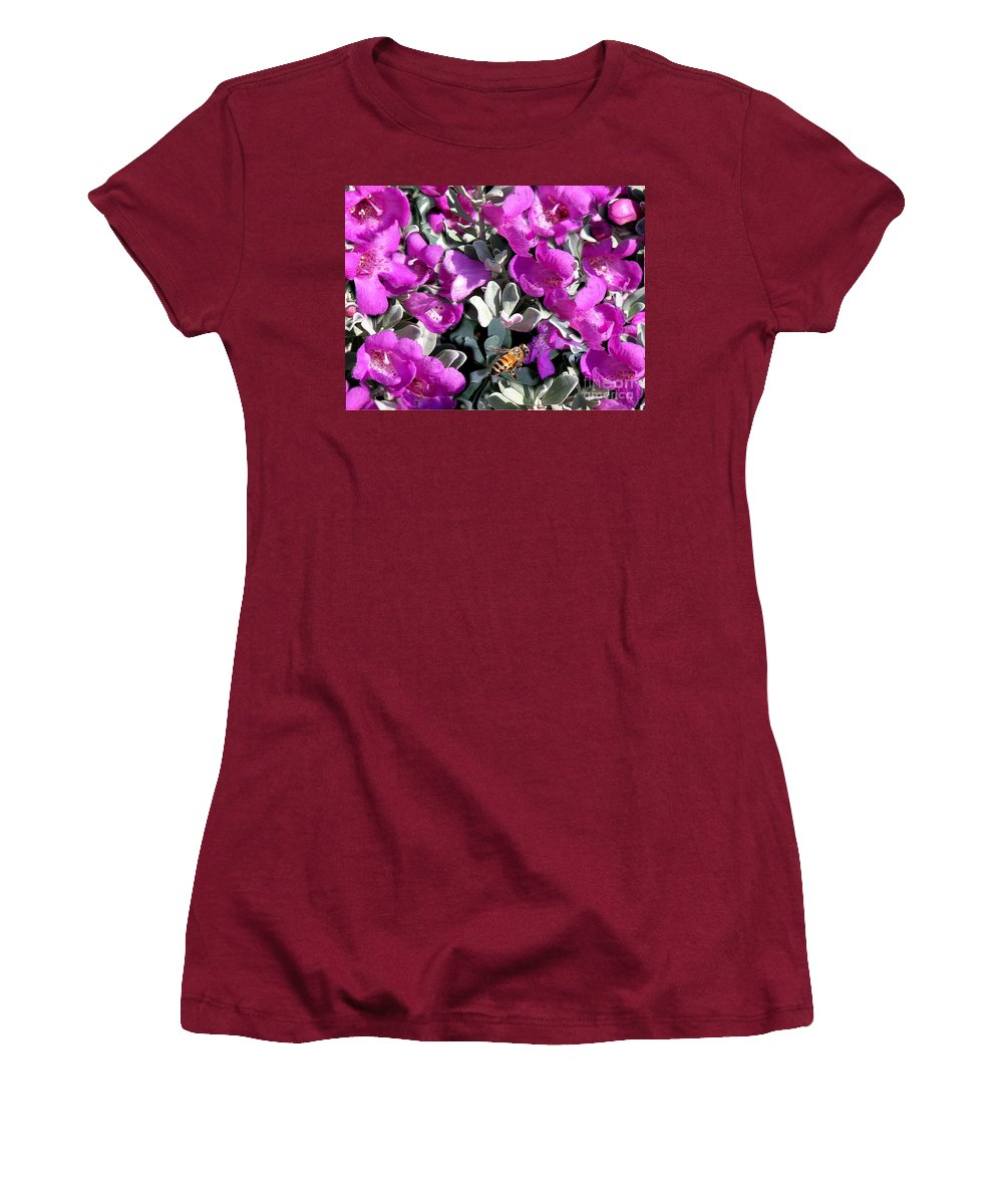Nature Women's T-Shirt (Athletic Fit) featuring the photograph The Flight Of The Bumble Bee by Lucyna A M Green