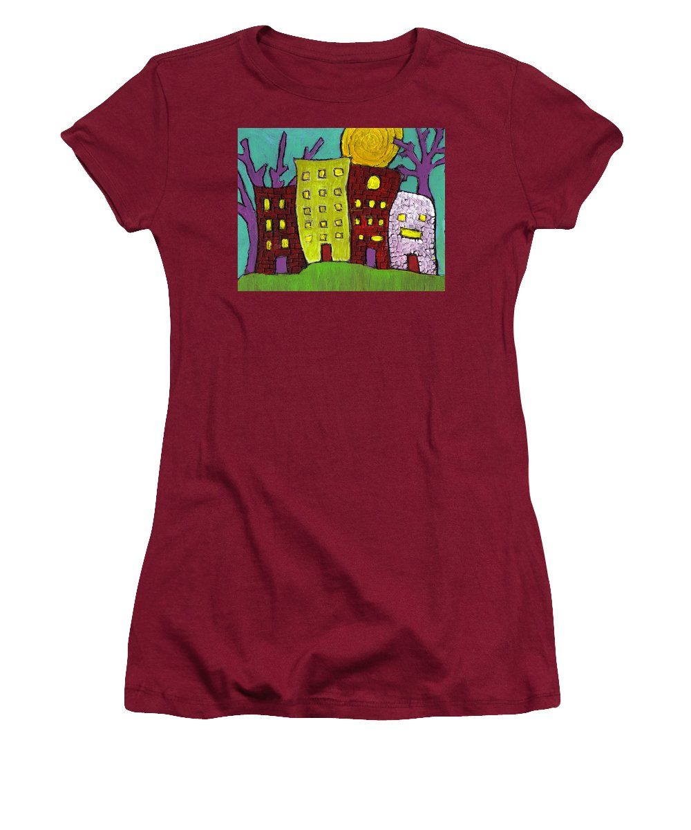 Buildings Women's T-Shirt (Athletic Fit) featuring the painting The Old Neighborhood by Wayne Potrafka