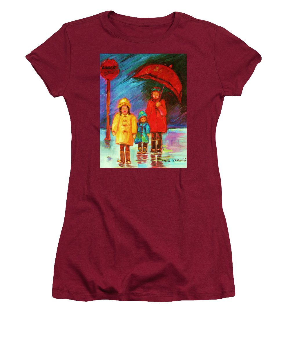 Rainy Day Women's T-Shirt (Athletic Fit) featuring the painting The Red Umbrella by Carole Spandau