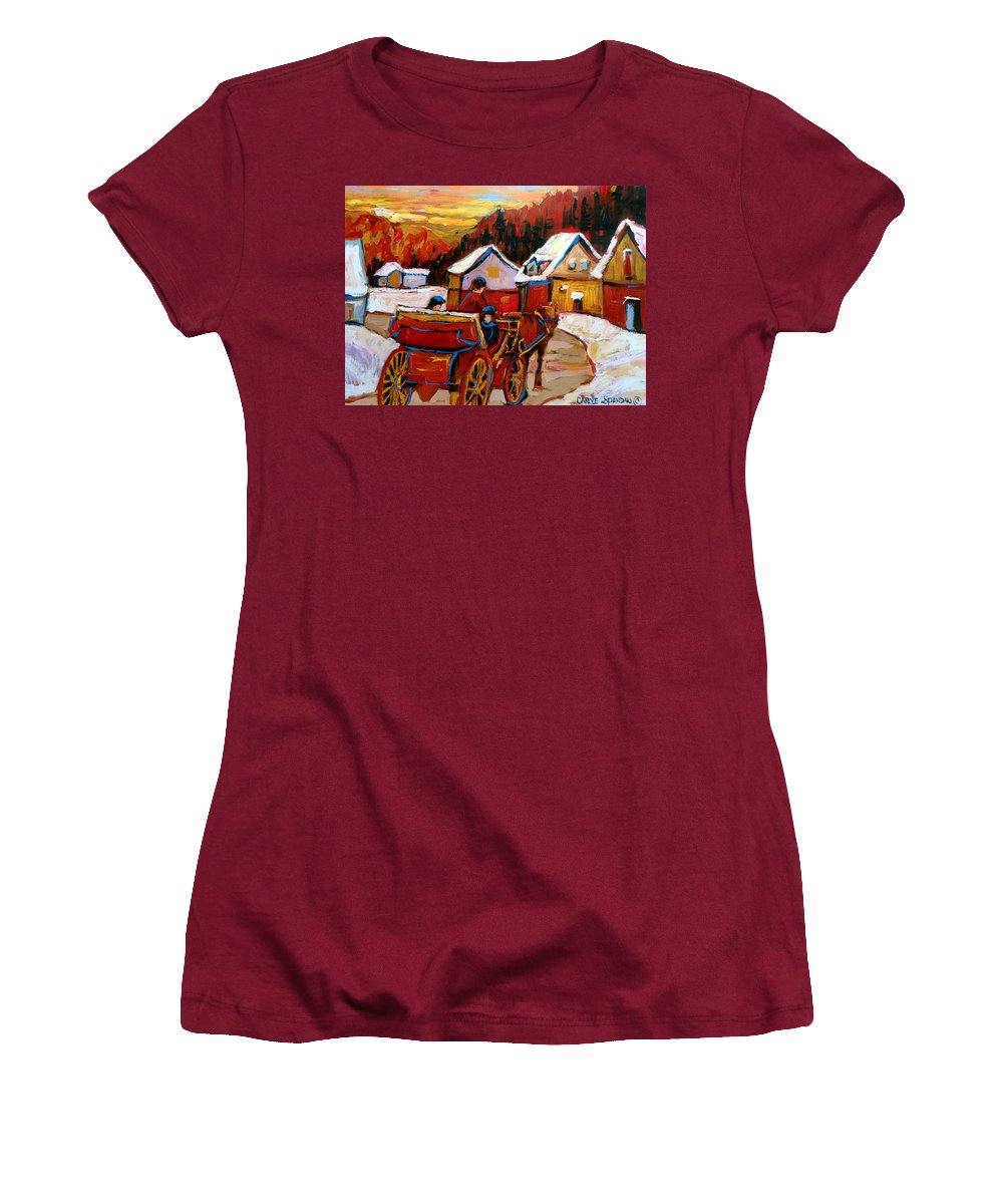 Saint Jerome Women's T-Shirt (Athletic Fit) featuring the painting The Village Of Saint Jerome by Carole Spandau