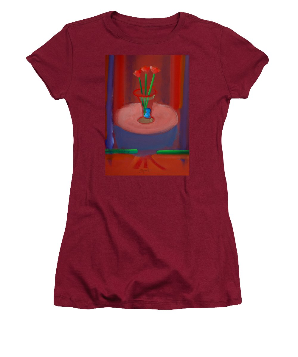 Poppies Women's T-Shirt (Athletic Fit) featuring the painting Three Poppies In A Vase by Charles Stuart