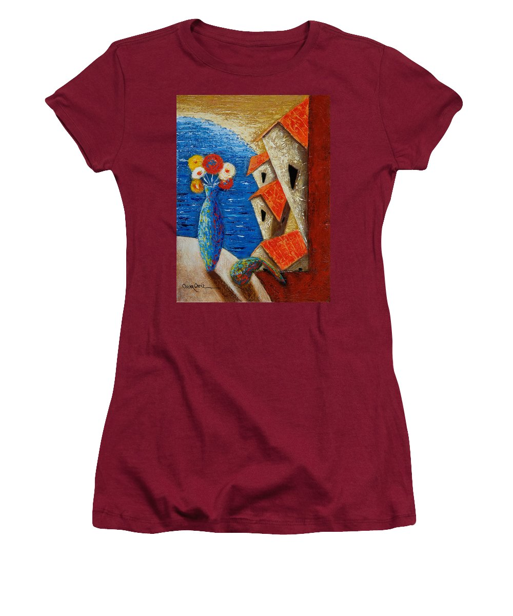 Landscape Women's T-Shirt (Athletic Fit) featuring the painting Ventana Al Mar by Oscar Ortiz