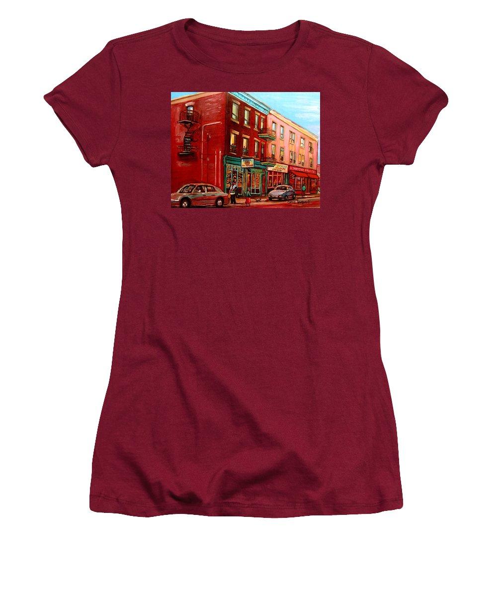 St Viateur Bagel Shop Montreal Street Scenes Women's T-Shirt (Athletic Fit) featuring the painting Vintage Montreal by Carole Spandau