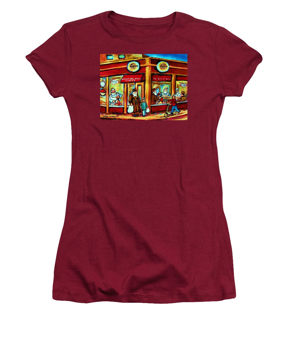 Montreal Women's T-Shirt (Athletic Fit) featuring the painting Waldmans In Montreal by Carole Spandau