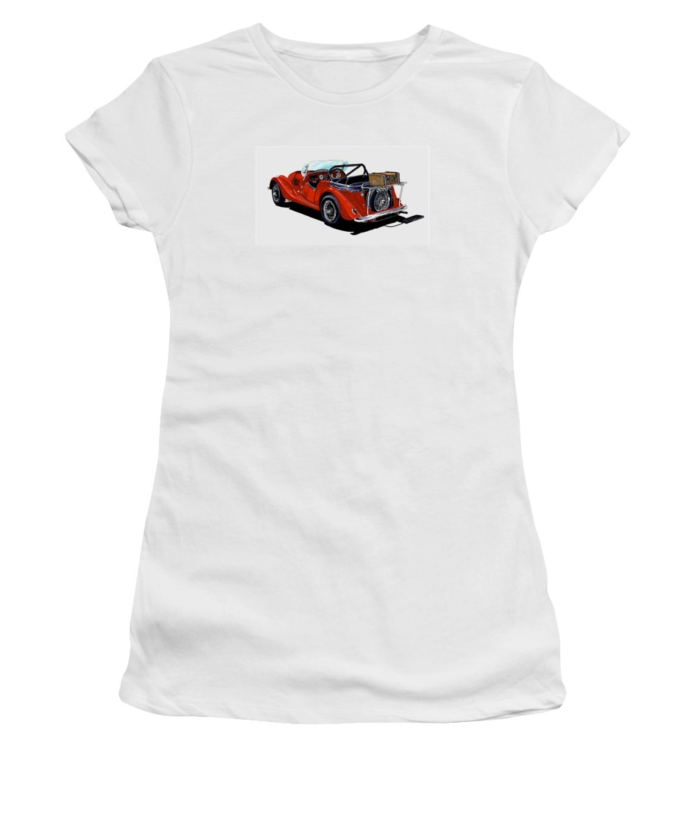 Classic Car Art Of 1961 Morgan 4 + 4 Artwork By Jack Pumphrey Women's T-Shirt (Athletic Fit) featuring the painting Morgan 4 Plus 4 1961 by Jack Pumphrey