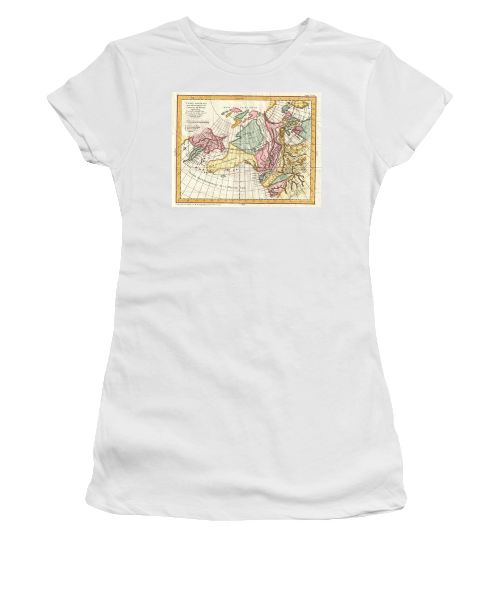 Women's T-Shirt featuring the photograph A Truly Fascinating 1772 Map Of The Northwestern Parts Of North America By Robert De Vaugondy And T by Paul Fearn