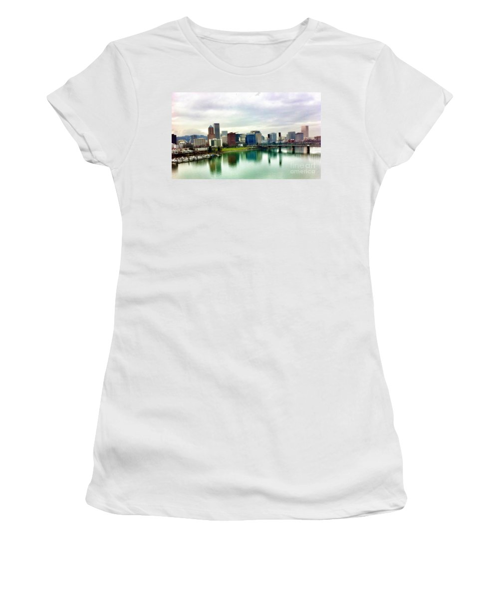 Portland Oregon Bridge And City Skyline View Women's T-Shirt featuring the photograph City Of Roses by Susan Garren