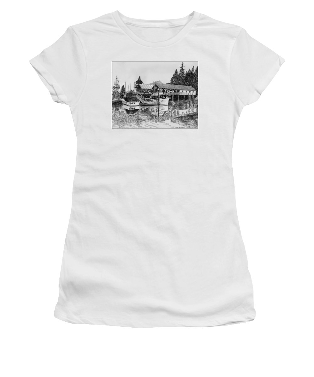 Net Sheds Women's T-Shirt (Athletic Fit) featuring the drawing Net Shed Gig Harbor by Jack Pumphrey