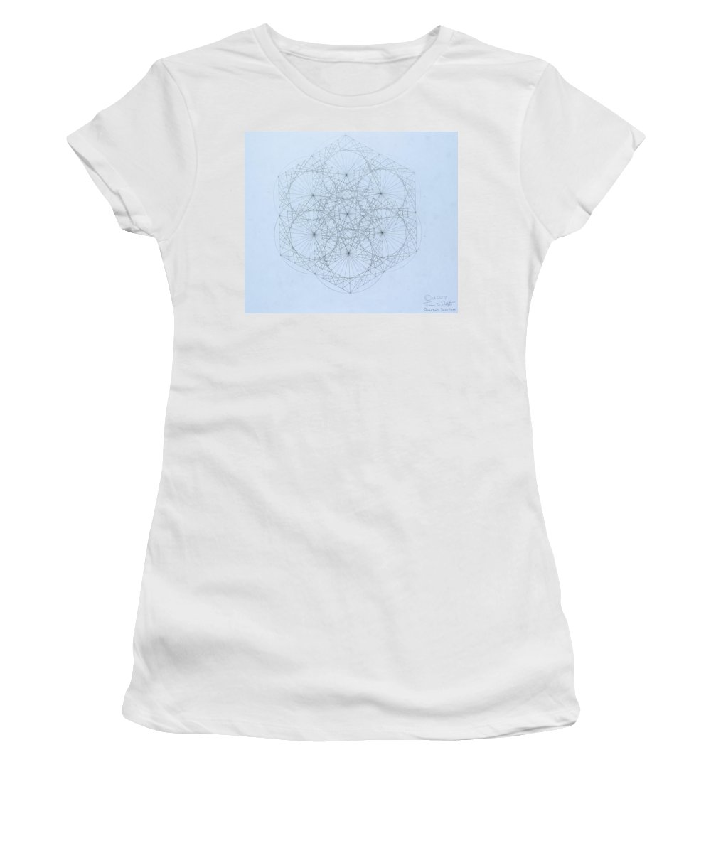 Jason Padgett Women's T-Shirt (Athletic Fit) featuring the drawing Quantum Snowflake by Jason Padgett
