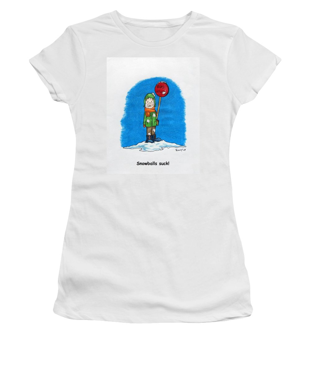 Michael Women's T-Shirt (Athletic Fit) featuring the drawing  Snowballs Suck by Michael TMAD Finney