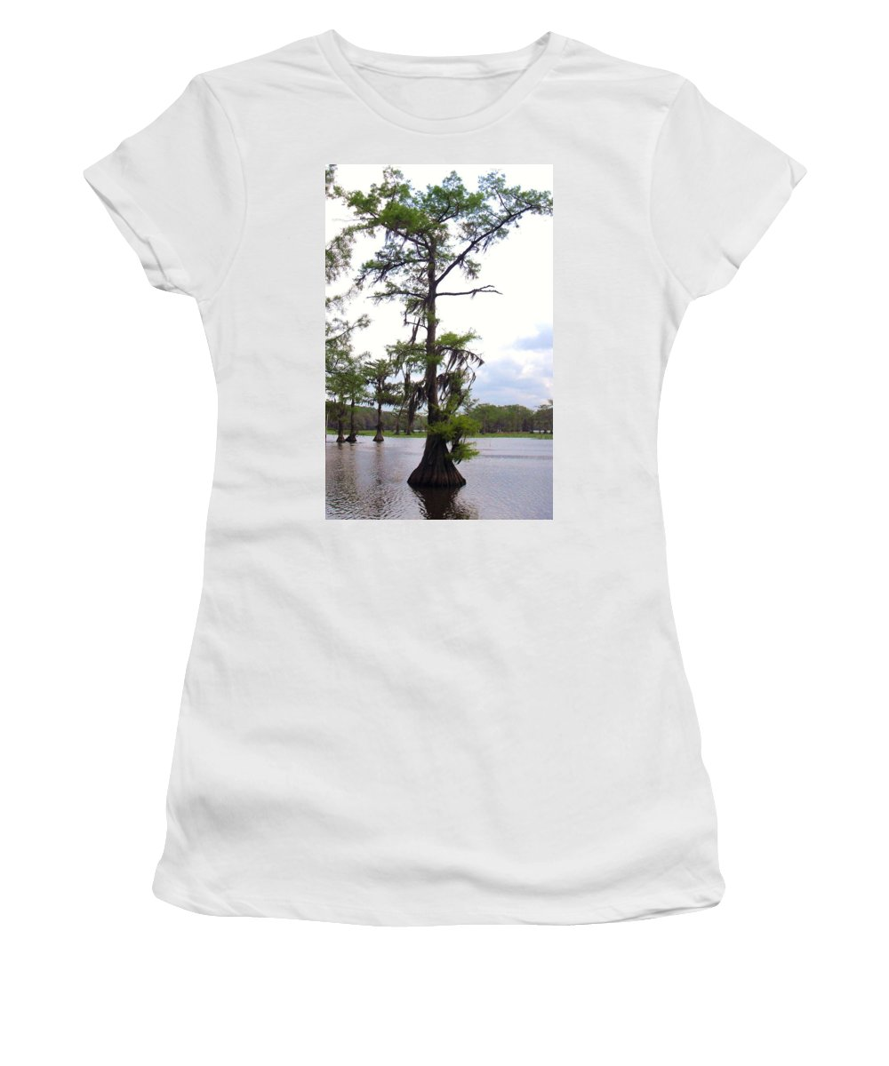 Cypress Trees Women's T-Shirt (Athletic Fit) featuring the photograph Cypress Trees by Donna Wilson