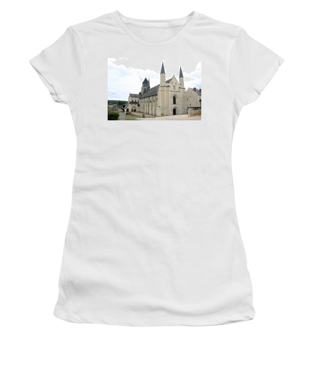 Cloister Women's T-Shirt (Athletic Fit) featuring the photograph West Facade Of The Church - Fontevraud Abbey by Christiane Schulze Art And Photography