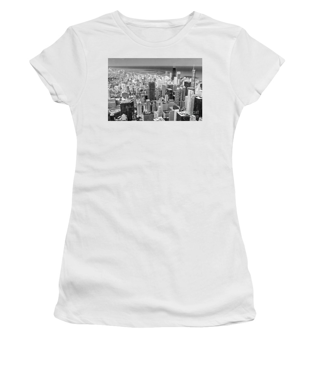 Chicago Women's T-Shirt (Athletic Fit) featuring the photograph 0036 Chicago Skyline Black And White by Steve Sturgill
