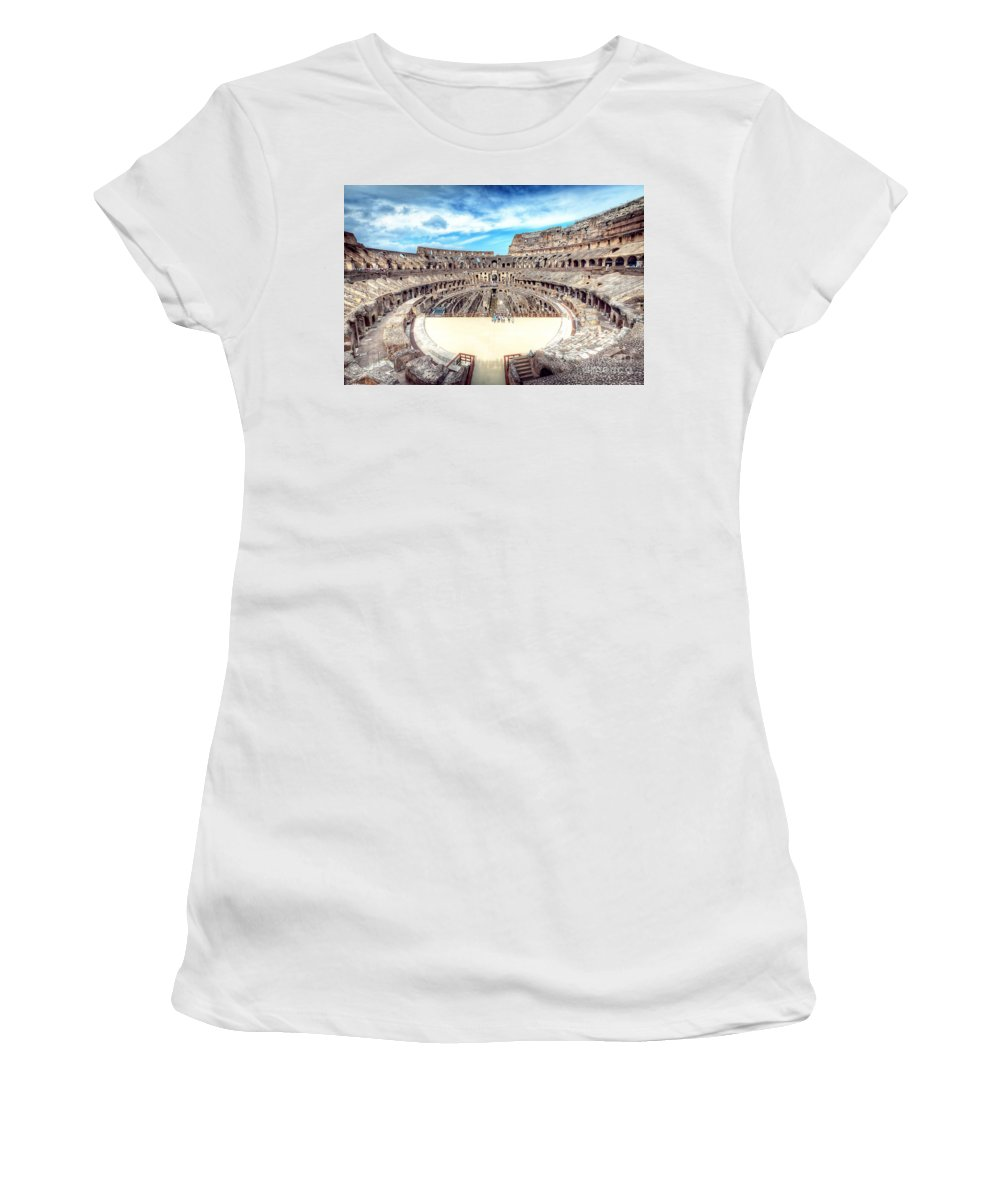 Rome Women's T-Shirt (Athletic Fit) featuring the photograph 0795 Roman Colosseum by Steve Sturgill