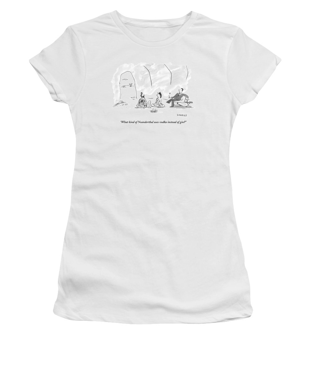 Cave Women's T-Shirt featuring the drawing A Caveman And Cavewoman Sit On The Floor by Liza Donnelly