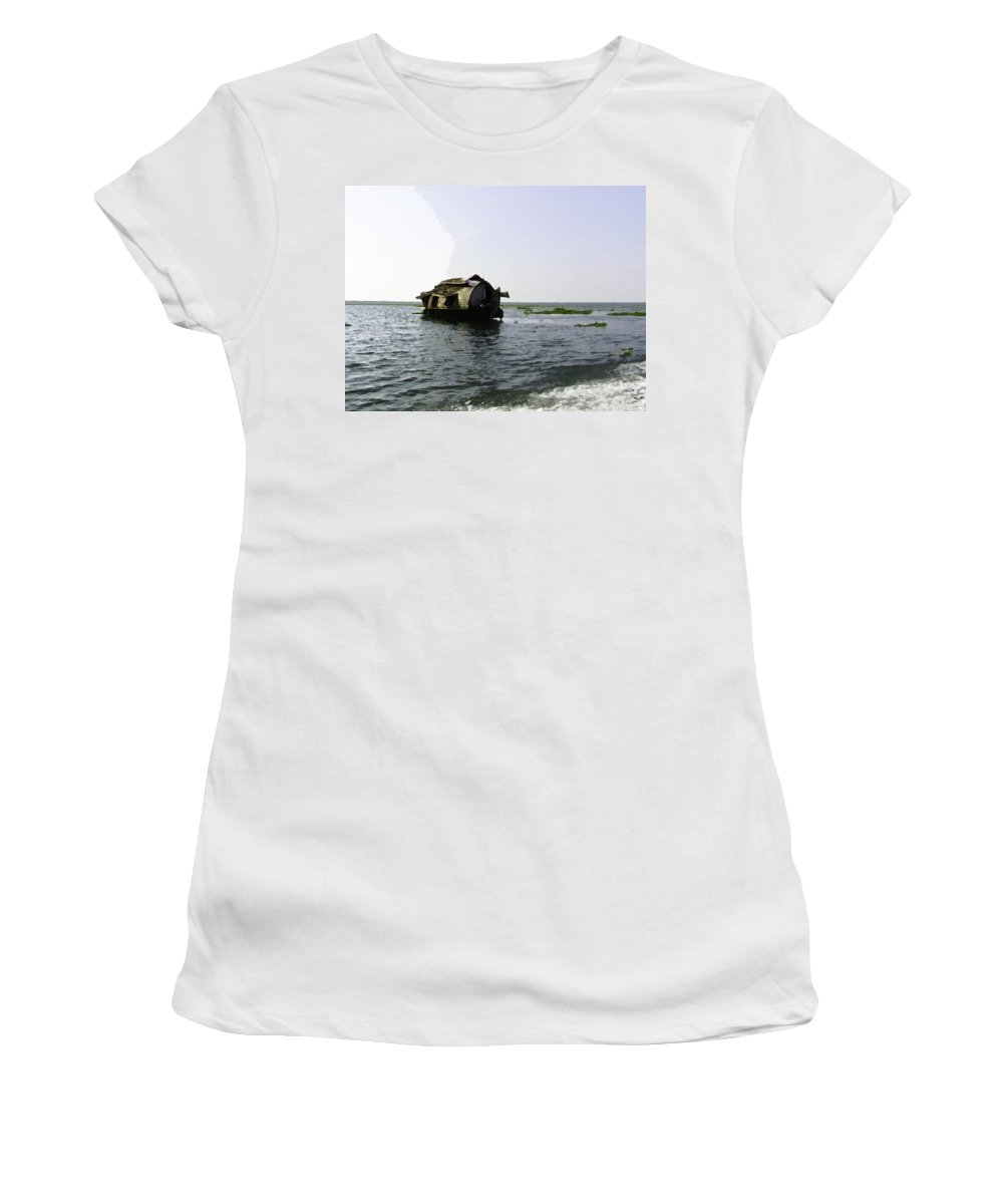 Backwater Women's T-Shirt (Athletic Fit) featuring the digital art A Houseboat Moving Placidly Through A Coastal Lagoon In Alleppey by Ashish Agarwal