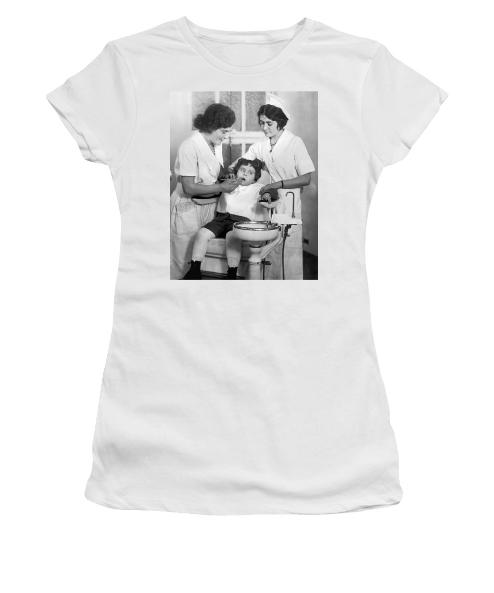 1925 Women's T-Shirt featuring the photograph A Reluctant Patient by Underwood Archives