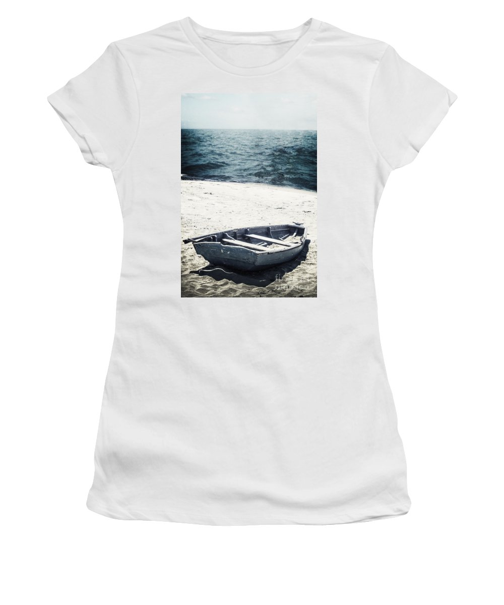 Boat Women's T-Shirt featuring the photograph Along The Shore by Margie Hurwich