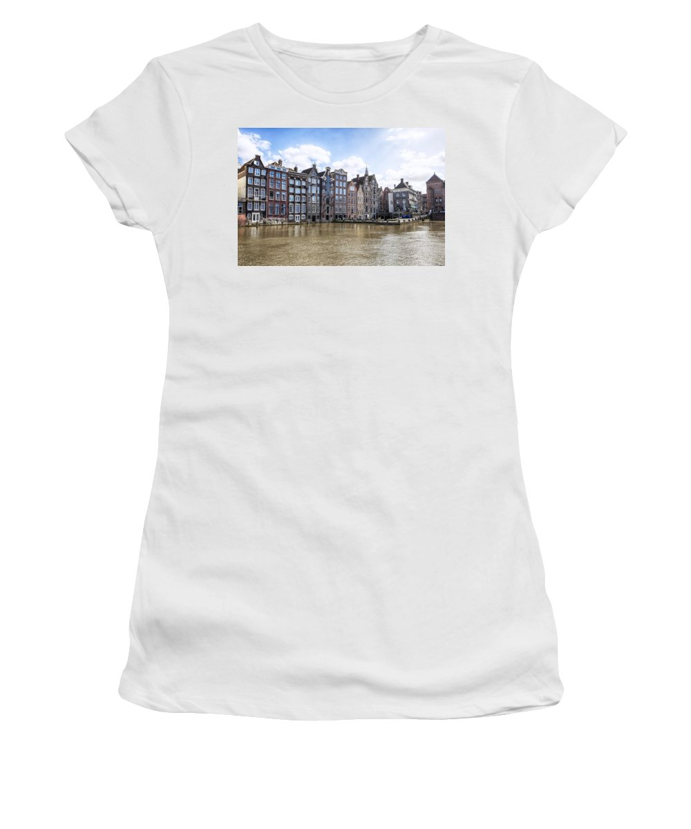 Damrak Women's T-Shirt (Athletic Fit) featuring the photograph Amsterdam by Joana Kruse