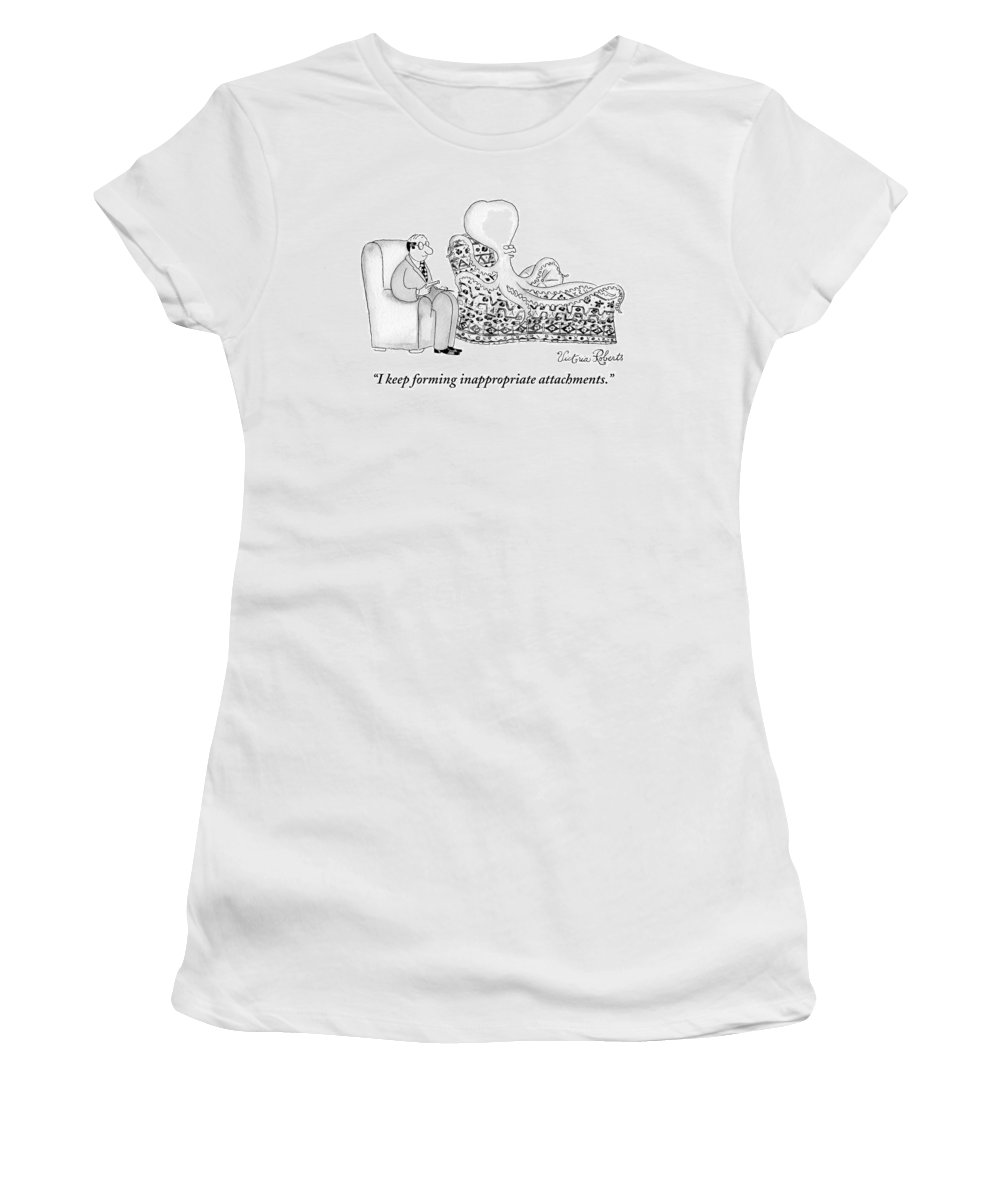 Psychiatrists Women's T-Shirt featuring the drawing An Octopus Or Squid Lays On A Psychiatrist Or by Victoria Roberts