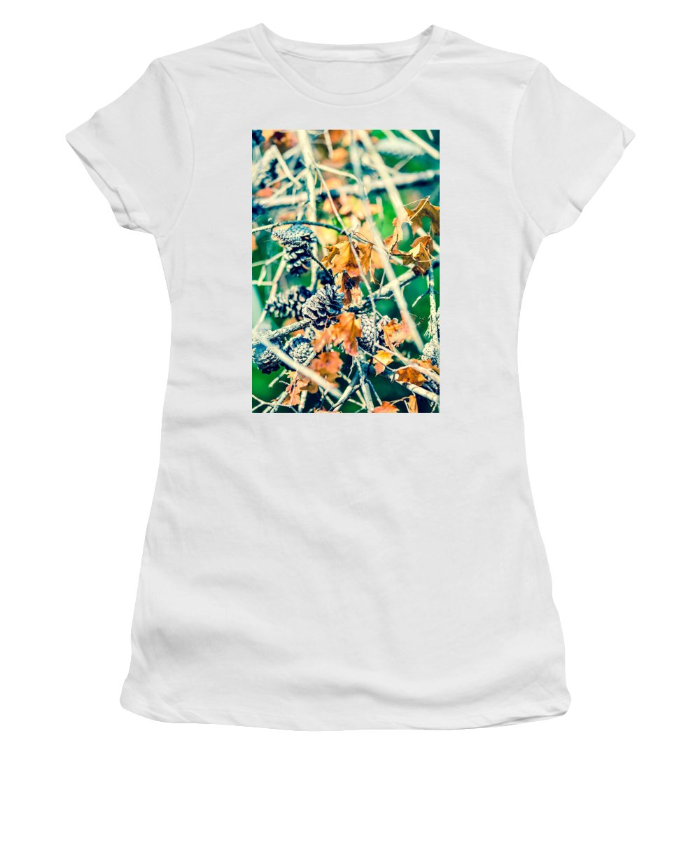 And Pinecone Women's T-Shirt (Athletic Fit) featuring the photograph Autumn Leaves And Pinecone Background by Alex Grichenko