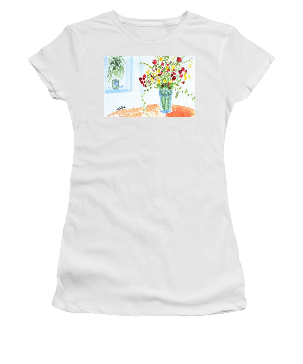 Roses Women's T-Shirt (Athletic Fit) featuring the painting Birthday Flowers by Wade Binford