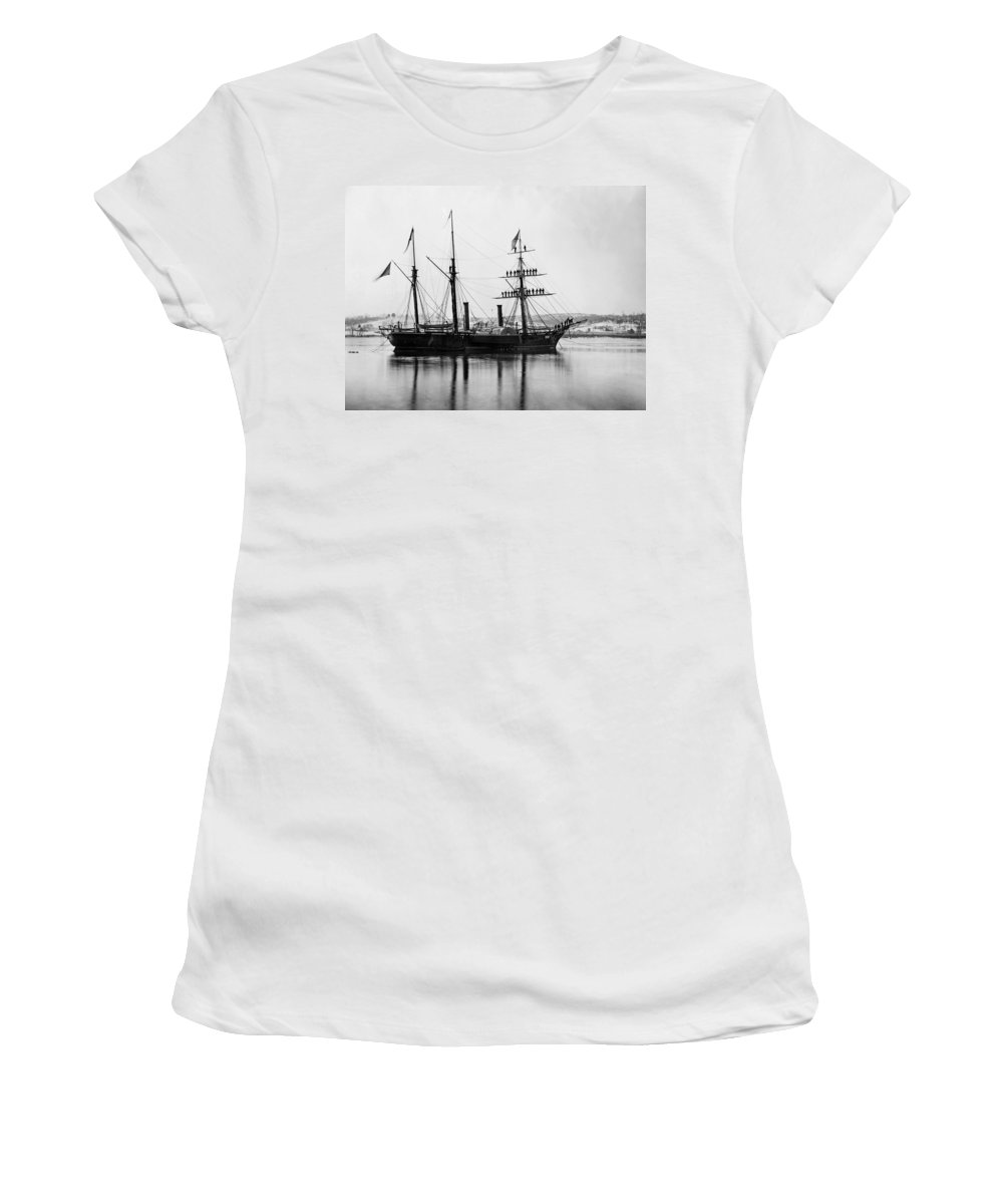 1863 Women's T-Shirt (Athletic Fit) featuring the photograph Brazilian Steamship, 1863 by Granger