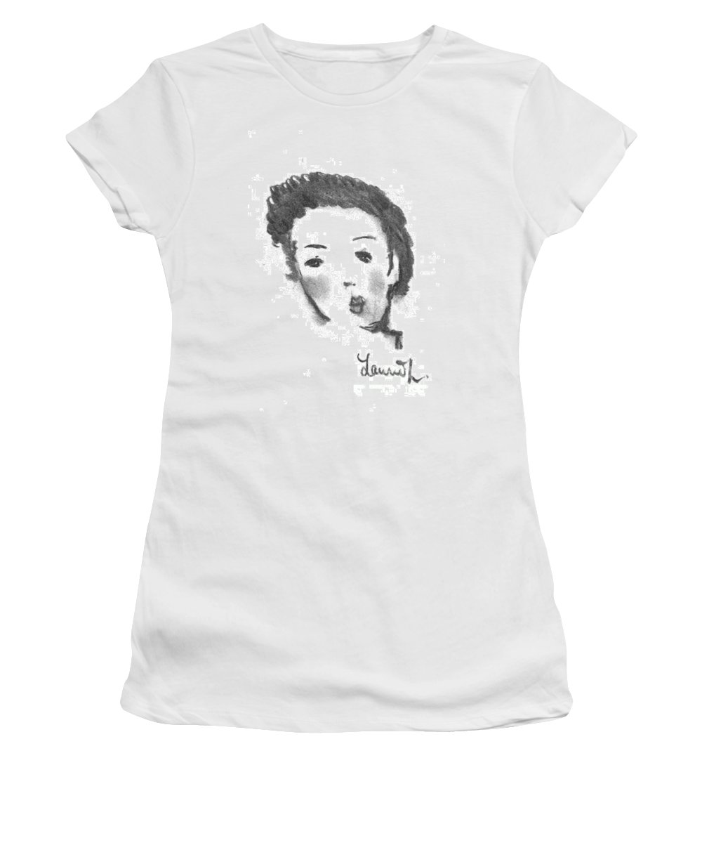 Woman Women's T-Shirt (Athletic Fit) featuring the drawing Bubble Gum by Laurie Lundquist