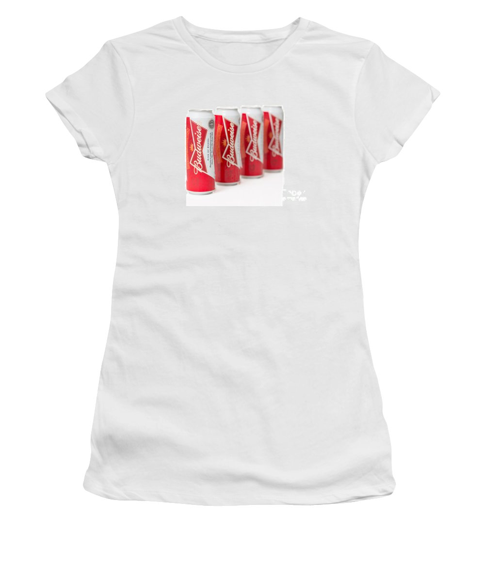 Budweiser Women's T-Shirt featuring the photograph Cans Of Budweiser Beer by Amanda Elwell