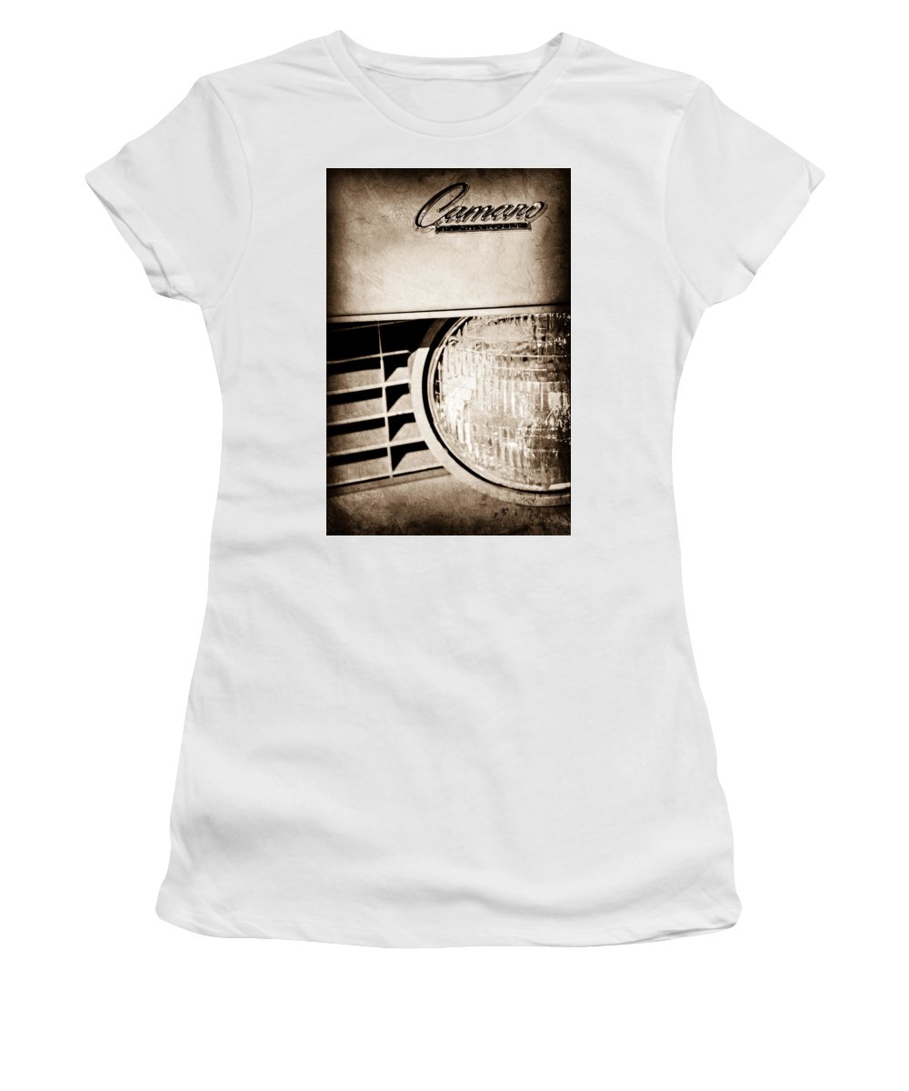 Chevrolet Camaro Headlight Emblem Women's T-Shirt featuring the photograph Chevrolet Camaro Headlight Emblem by Jill Reger