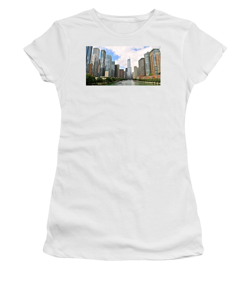 Chicago Women's T-Shirt featuring the photograph Chicago Panorama by Frozen in Time Fine Art Photography