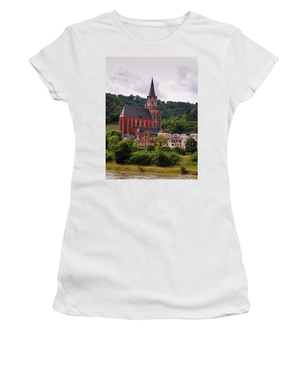 Alankomaat Women's T-Shirt (Athletic Fit) featuring the photograph Church Of Our Lady Oberwesel Am Rhein by Jouko Lehto