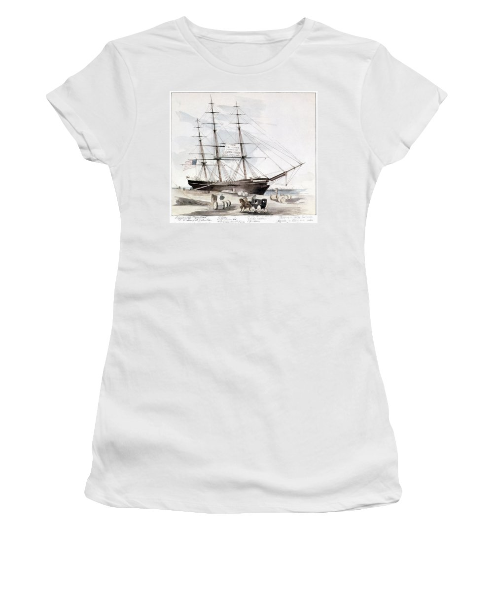 1851 Women's T-Shirt (Athletic Fit) featuring the painting Clipper Flying Cloud, 1851 by Granger