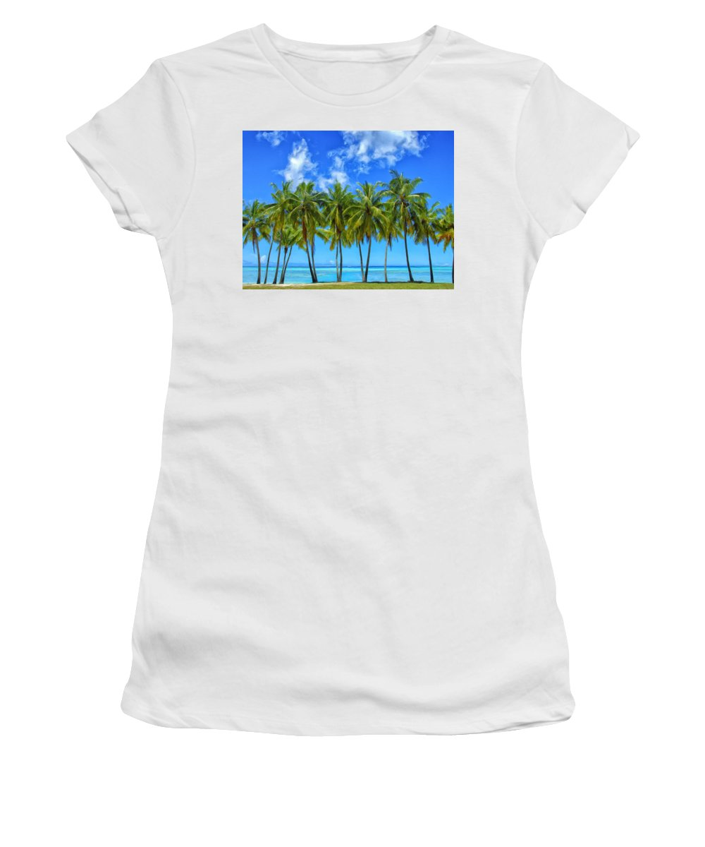 Palm Trees Women's T-Shirt (Athletic Fit) featuring the painting Cool Breeze by Dominic Piperata